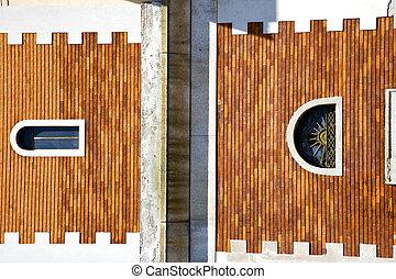 tradate window monument curch mosaic in red orange - tradate...