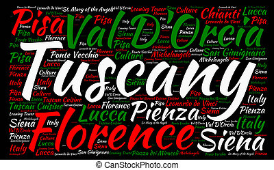Tuscany in Italy word cloud concept