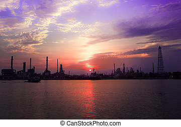 Oil refinery factory near the river
