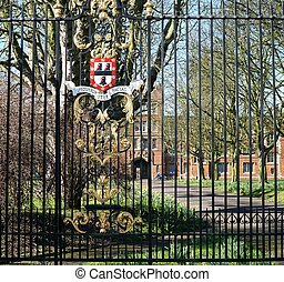 Jesus College, Cambridge, England - Iron railings decorated...