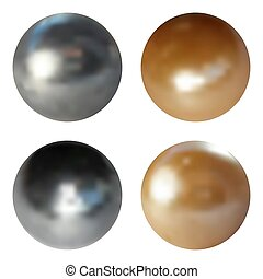 Metallic chrome spheres set on white background, vector illustration