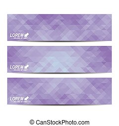 Set of vector banners. Background with purple triangles. Web banners, card, vip, certificate, gift, voucher. Modern business stylish design