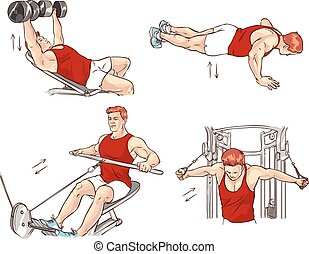 vector illustration of a bodybuilding exercise