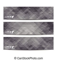 Set of vector banners. Background with black triangles. Web banners, card, vip, certificate, gift, voucher. Modern business stylish design