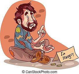vector illustration of a beggar