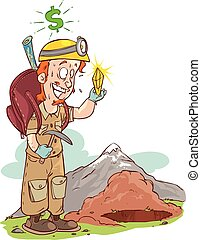 vector illustration of a diamond hunter
