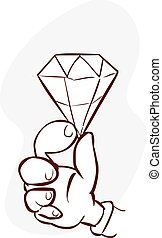 vector illustration of a held diamond