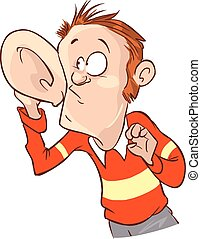 Listening with Hand to Ear Vector Illustration