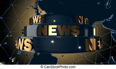 News background - World news broadcast. Loop animation.