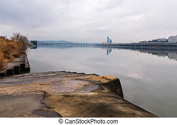 Hangang river in Seoul - Hangang river on a foggy day