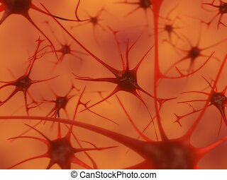 neurons in the brain - 3D illustration of neurons in the...