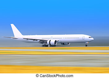plane on a runway - small passenger airplane is landing to...