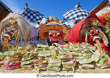 Traditional Balinese spirits - Barong and two witches Leyaks...