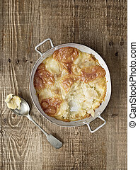 rustic english pub grub pan haggerty - close up of rustic...
