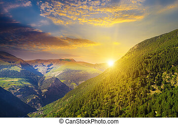 beautiful mountain landscape and sunrise