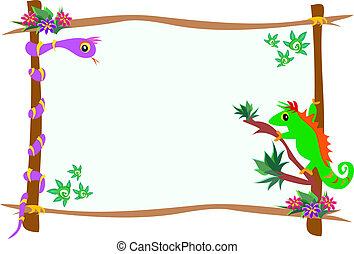 Frame of Chameleon and Snake on Branches