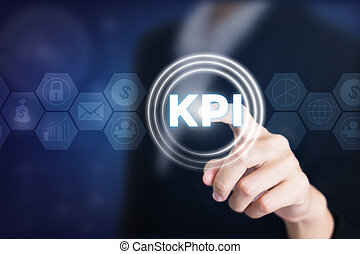 Business women holding posts in KPI. Can be used in...