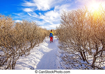 Woman walking on trail with snow in mountains.