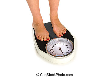 Weight Scale - A woman is standing on a weight scale