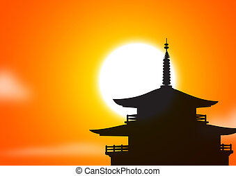 pagoda sunset silhoutte, asia concept