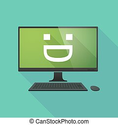 Personal computer with a laughing text face