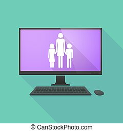 personal, computadora, con, Un, hembra, solo, padre,...