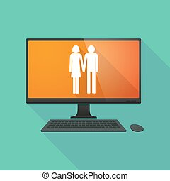 Personal computer with a heterosexual couple pictogram -...
