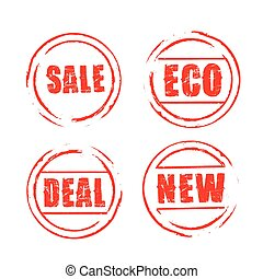 Red vector grunge stamps SALE, ECO, DEAL, NEW