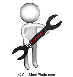3d Man with wrench with word service, isolated on white...