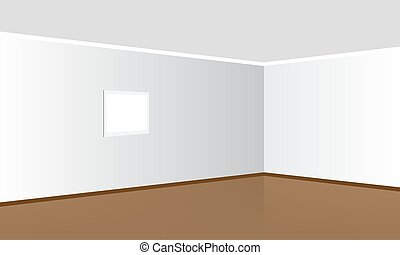 Vector Room Interior in Minimal Style with Empty Wall Background