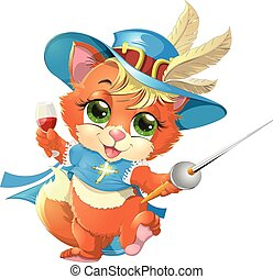 kitten musketeer with sword - kitten musketeer with a sword...