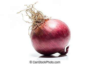 red tropea onion isolated on a white background. Macro
