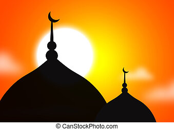 Mosque silhoutte against sunset - Mosque silhoutte
