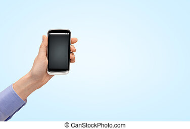 close up of woman hand with smartphone - people, technology...