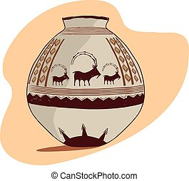 Vector illustration of a archaeological jug