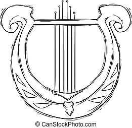 Vector illustration of a musical instrument harp