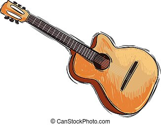 Vector illustration of a instrument guitar drawing