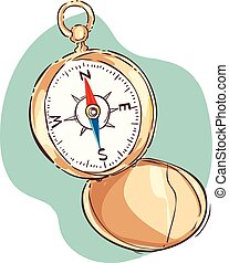 Vector illustration of a direction findercompass