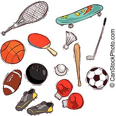 Vector illustration of a Sport balls and equipment