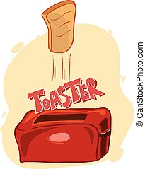 Vector illustration of a retro toaster with bread