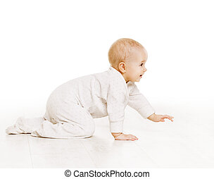 Toddler Crawling in White Baby Onesie, Active Kid Creeping...