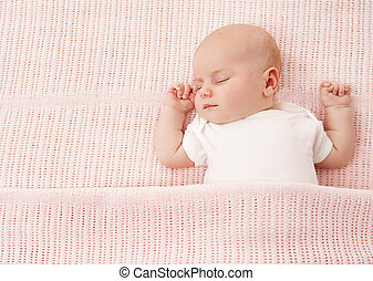 Newborn Baby Sleeping, New Born Kid Girl Sleep on Pink