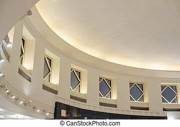 Interior building architectural design detail ceiling top with w