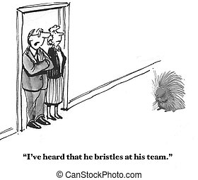 Bristling Causes Conflict - Business cartoon about a...