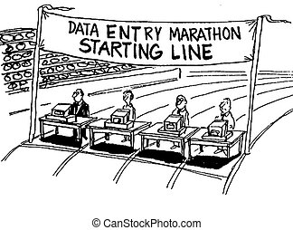 Data Entry Marathon - Business cartoon about a data entry...