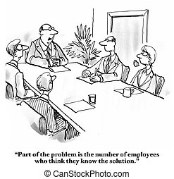 Employees Know Answer - Business cartoon about boss saying...