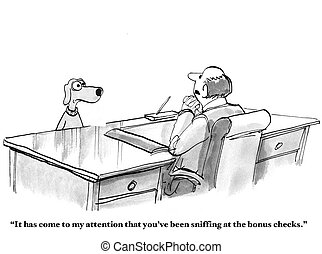 Dog Sniffing at Bonuses - Business cartoon about a business...