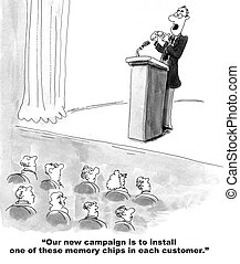 Install Memory Chip - Business marketing cartoon of the CMO...