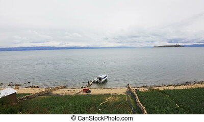 Lake Titicaca with boat - Top of view on the Lake Titicaca...
