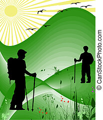 hikers vector - two hikers walkers in countryside with birds...